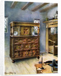 The Putnam Cupboard of English oak and cedar, and carved settle of American oak by Edwin Foley