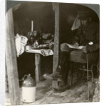 Staff officer in a dugout studying details before an offensive, World War I by Realistic Travels Publishers