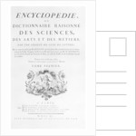 Title page of Denis Diderot's Encyclopedie by Anonymous
