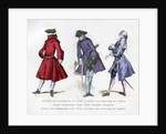 Frock coat of 1729, bourgeois fashion in 1745, and ceremonial dress of 1750 by Tamisier