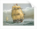 A 74 gun Royal Navy ship of the line by William Frederick Mitchell