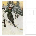 Woman skiing by Ernst Platz