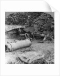 Shattered remains of a luckless howitzer blown up by a direct German hit, World War I by Realistic Travels Publishers