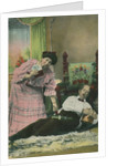 A postcard of a wife taking her drunk husband's money by Anonymous