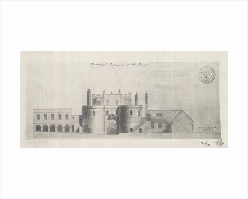 Architectural blueprint posters architectural blueprint prints the western entrance tower of london 1845 by unknown malvernweather Images