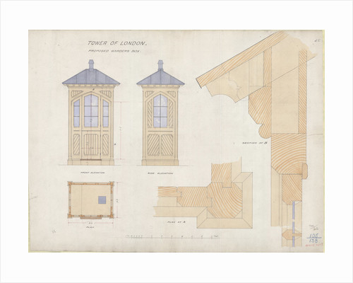 Architectural blueprint posters architectural blueprint prints warders box tower of london by unknown malvernweather Image collections