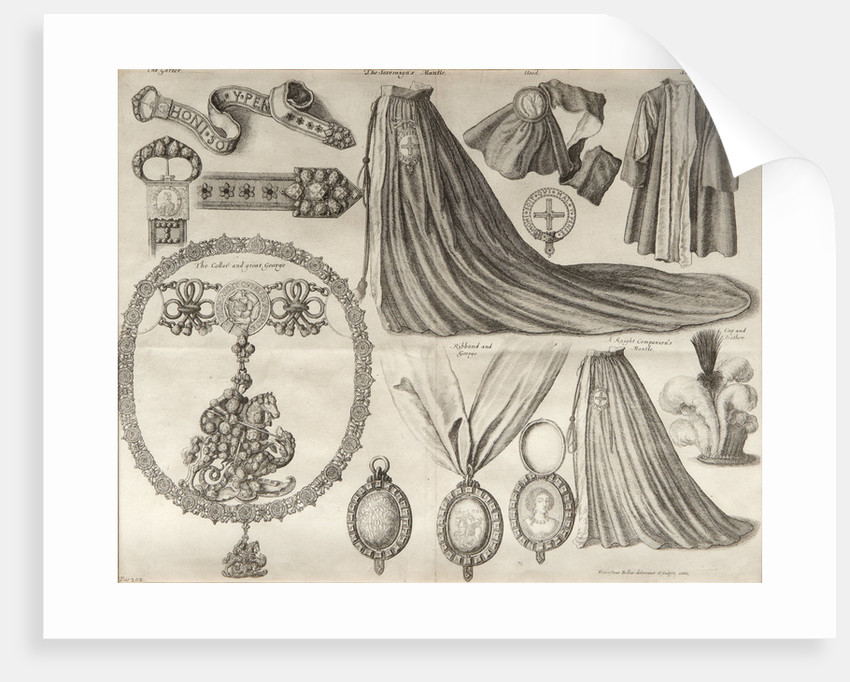 Components of dress of the Order of the Garter by Wenceslaus Hollar
