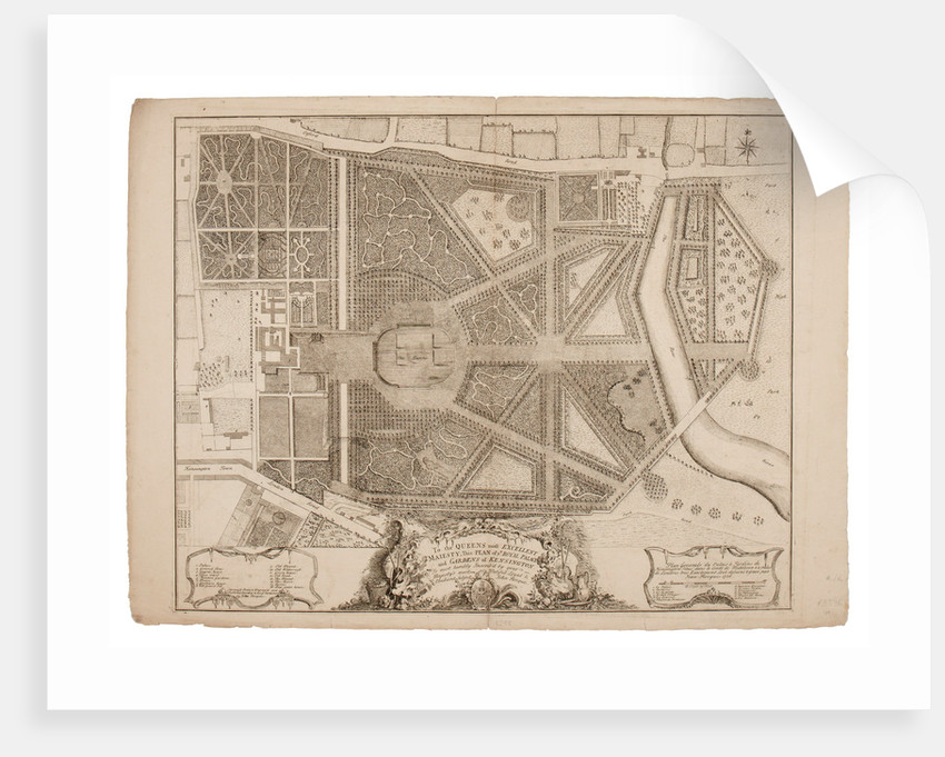Plan of the Royal Palace and Gardens of Kensington, 1736 by John Rocque