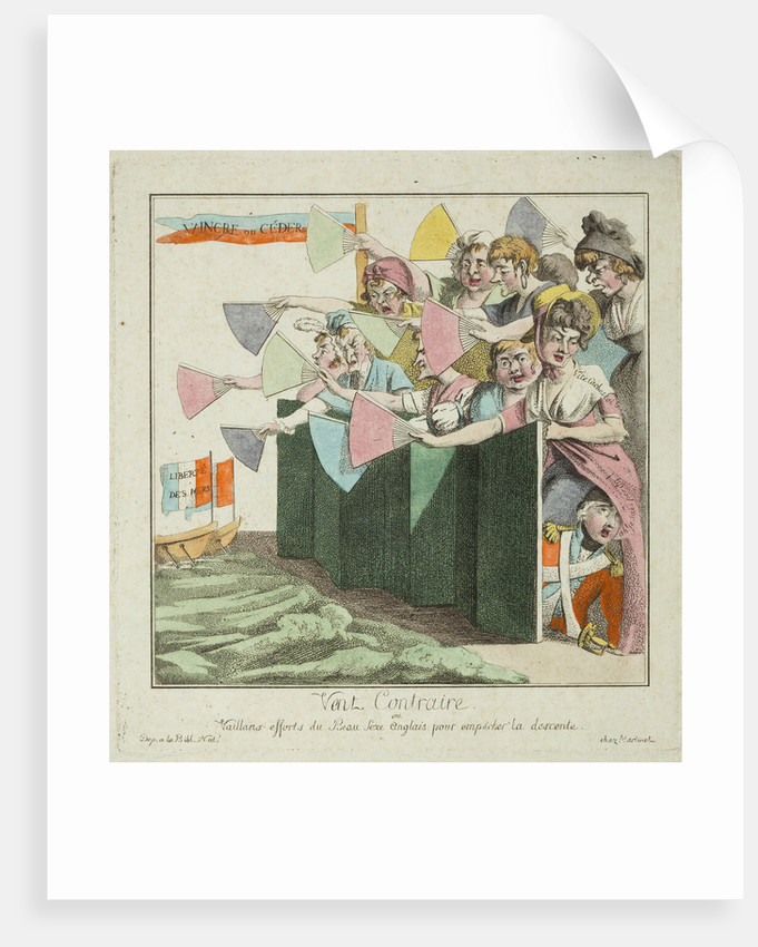 Contrary Wind or Valiant efforts of the English fair sex to prevent the invasion, 1803 by Unknown