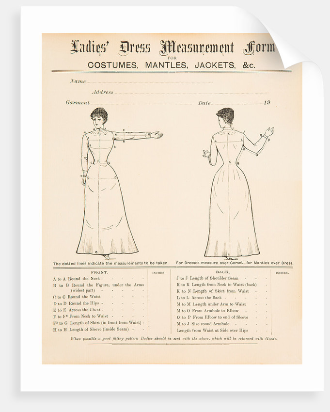 Ladies' dress measurement form, early 1900s by Unknown