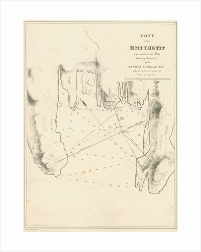 Chart of the cove showing the wreck of H.M.S.Thetis by John Frederick Fitzgerald De Roos