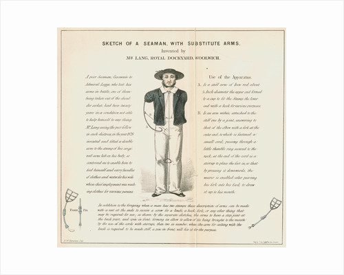 'Sketch of a seaman with substitute arms' by Anonymous