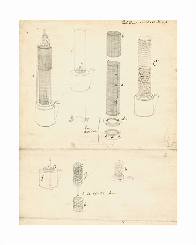 Forms of miners' safety lamp by Humphry Davy
