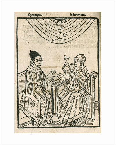 Depiction of a dialogue between a theologian and an astronomer by Anonymous