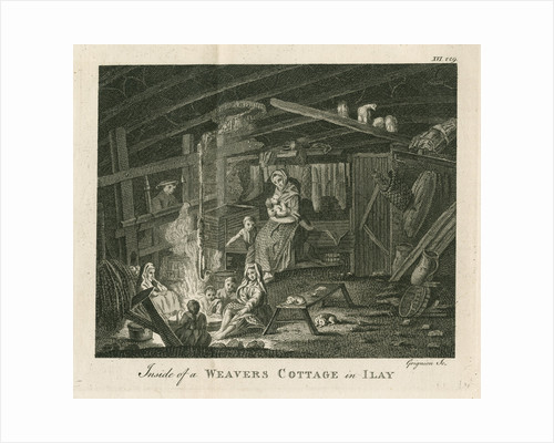 'Inside of a poor weavers cottage at Ilay' by Charles Grignion I