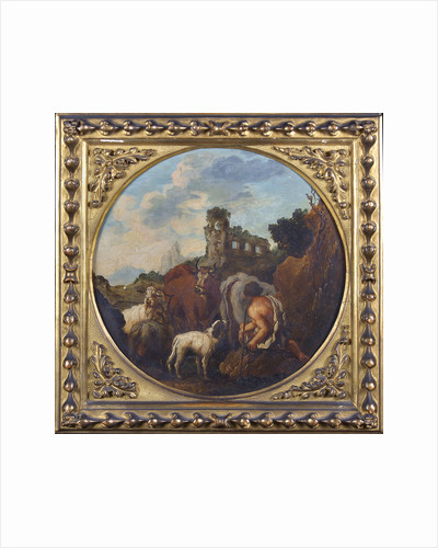 Rustic landscape with shepherd and animals by Philipp Peter Roos