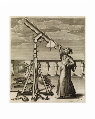 Johannes Hevelius observing through telescope by Johannes Hevelius