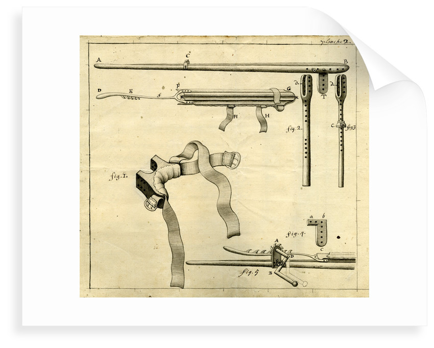 Components of the 'Ambe of Hippocrates': contraption for repairing dislocated shoulders by Claude-Nicholas Le Cat