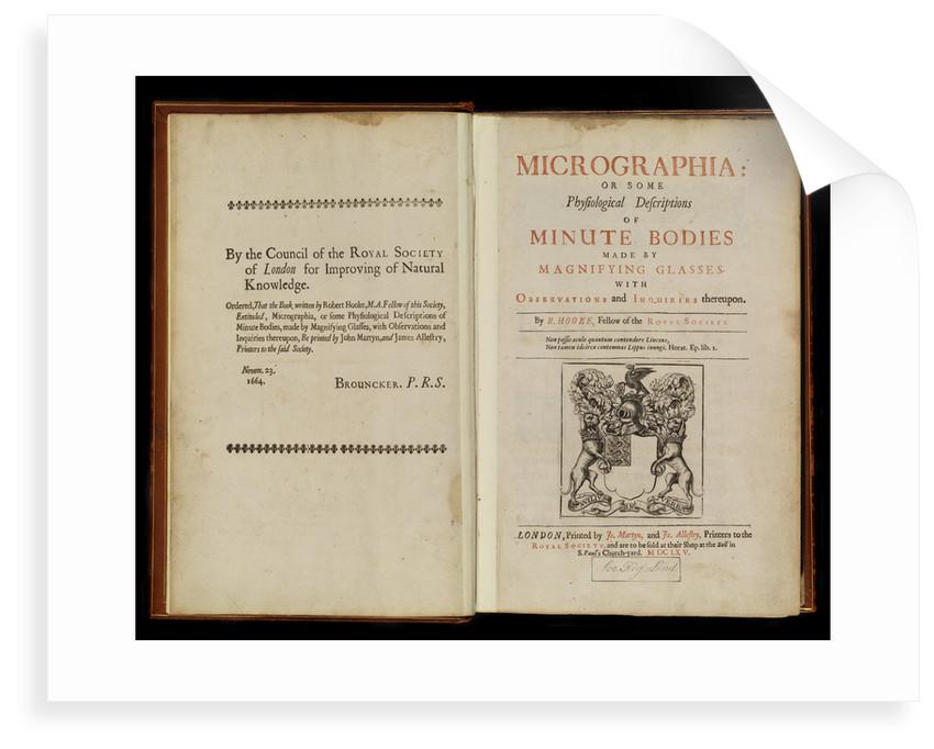 Title page of Robert Hooke's 'Micrographia' by Robert Hooke