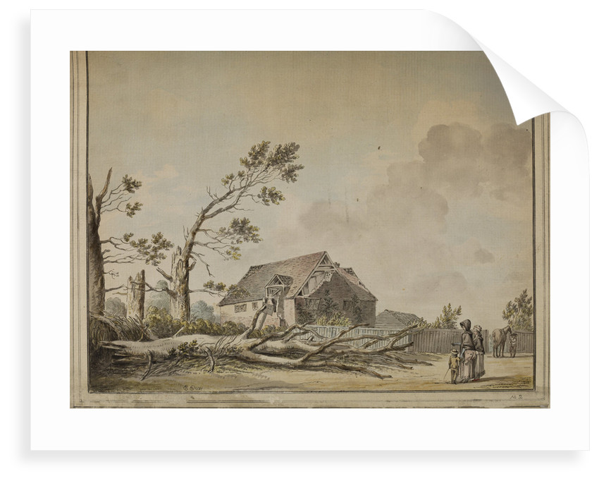 Felled tree and damaged house near Roehampton by Edward Edwards