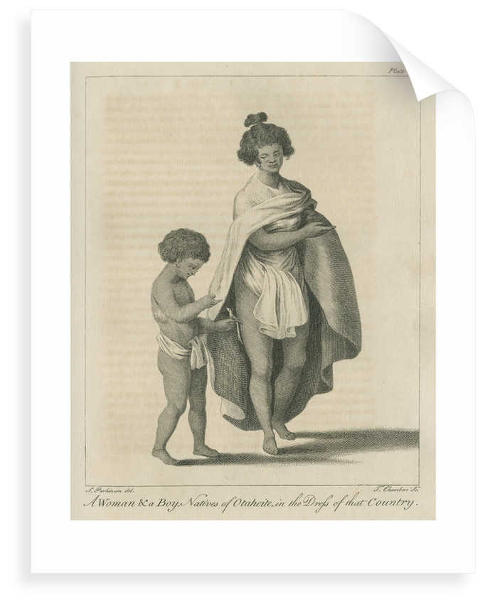 'A Woman & a Boy, Natives of Otaheite, in the Dress of that Country' by Thomas Chambers