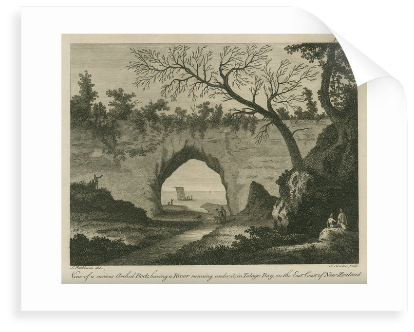 '...curious arched Rock, having a River running under it, in Tolago Bay.' by James Newton