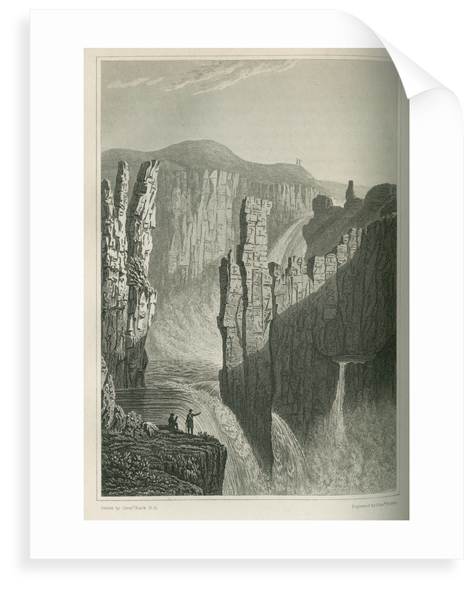 'The Falls of Wilberforce, estimated at 250 feet high' by Edward Francis Finden