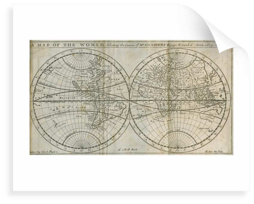 Map of William Dampier's circumnavigation of the world, 1679-1691 by Herman Moll