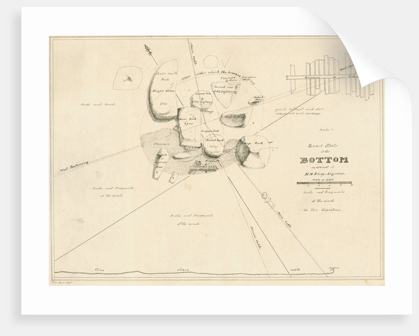 Chart of the sea floor during salvage operations on the wreck of H.M.S.Thetis by John Frederick Fitzgerald De Roos
