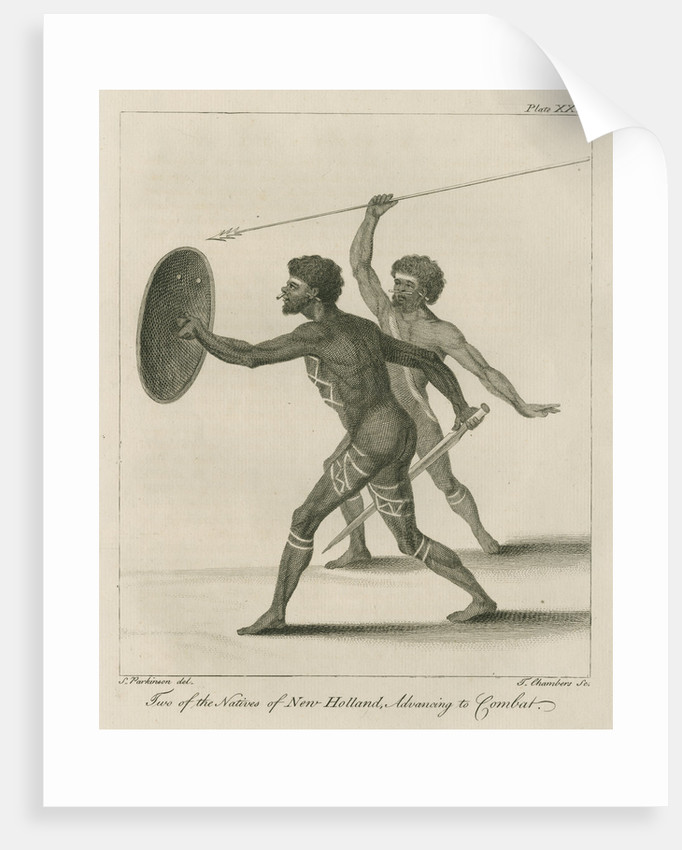 'Two of the Natives of New Holland, Advancing to Combat' by Thomas Chambers