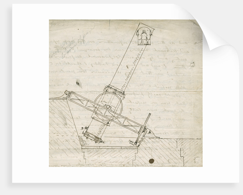 Design sketch for the Great Melbourne Telescope by James Nasmyth