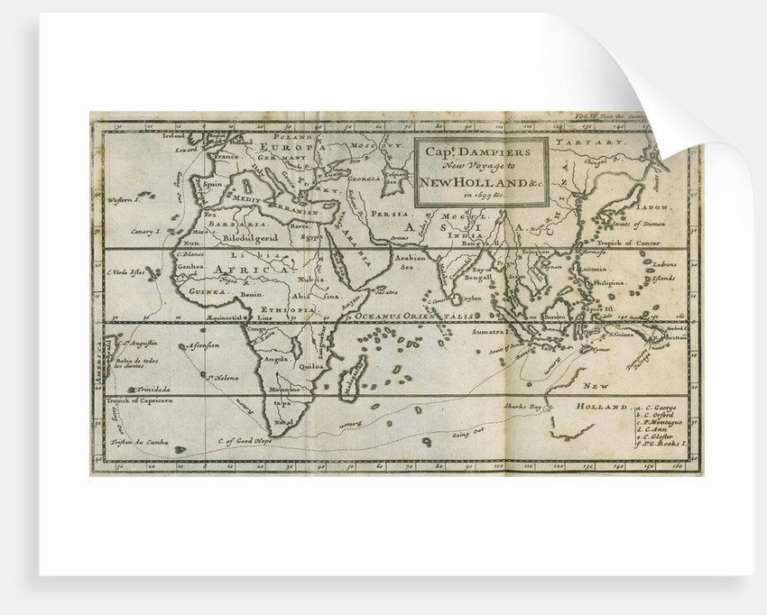 Map of William Dampier's voyage to Australia, 1699 by Anonymous