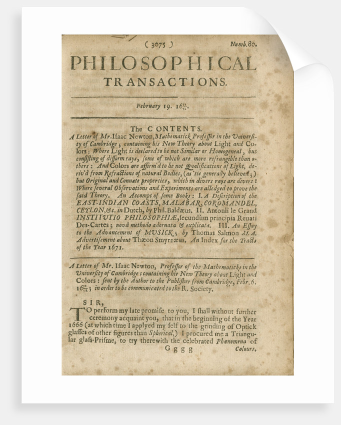 Contents page of Philosophical Transactions of the Royal Society, Volume 6 by Anonymous