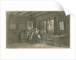 Abraham Trembley in his laboratory with pupils by Jacobus van der Schley