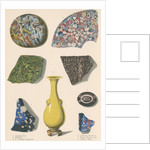 Specimens of fused coloured glass and a Chinese vase by J R Robbins
