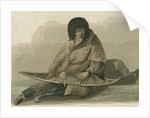 Green Stockings mending a snow shoe by Edward Francis Finden