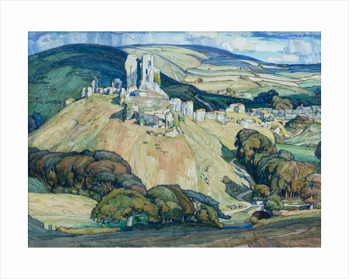 Corfe Castle from West Hill by Leslie Moffat Ward