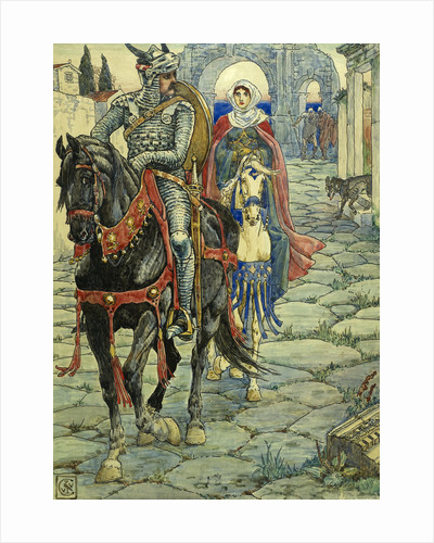 Sir Geraint and the Lady Enid in the Deserted Roman Town by Walter Crane