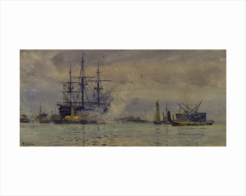 Portsmouth Harbour with Victory by William Lionel Wyllie