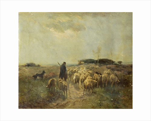 Sheep and Shepherd Retreating by Anonymous