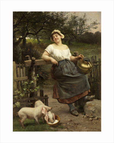 Feeding Her Pets; A Peasant Girl, Brittany by Emile Antoine Bayard