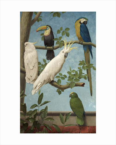 Cockatoos, Toucan, Macaw and Parrots by Henry Stacey Marks