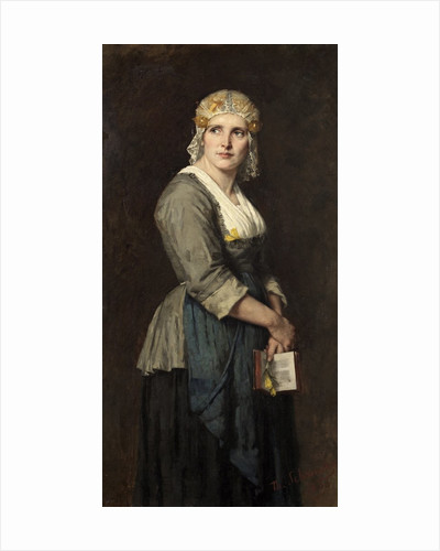 Going To Church; A Dutch Peasant by Therese Schwartze