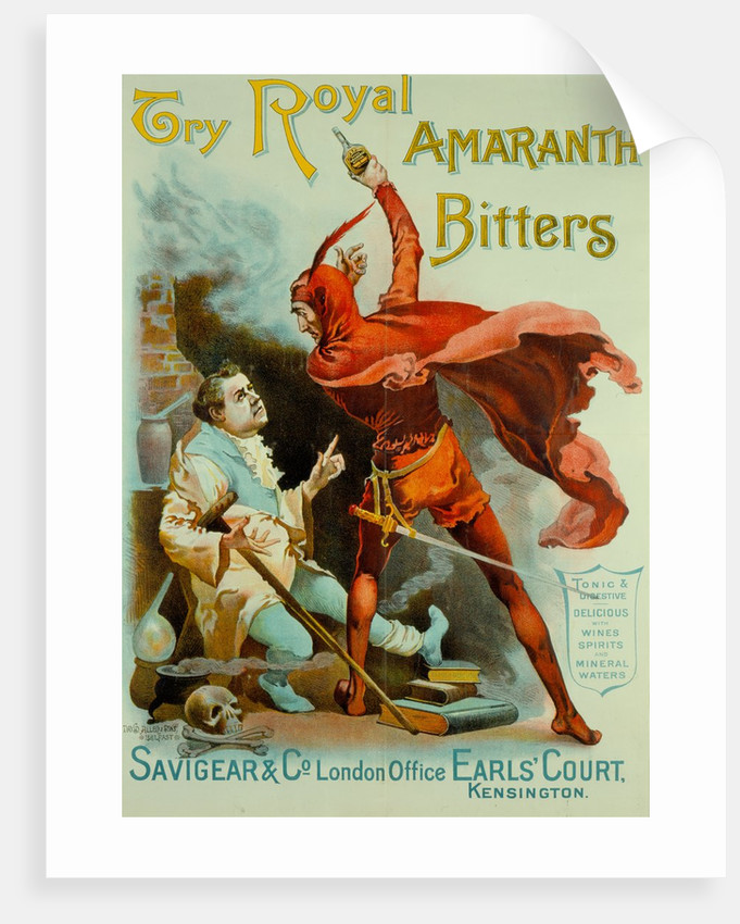 Advertisement for 'Royal Amaranth Bitters' featuring Henry Irving as Mephistopheles from 'Faust', circa 1886 by Anonymous