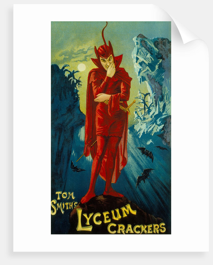 Advertisement for 'Tom Smith's Lyceum Crackers' featuring Henry Irving as Mephistopheles from 'Faust', circa 1886 by Anonymous