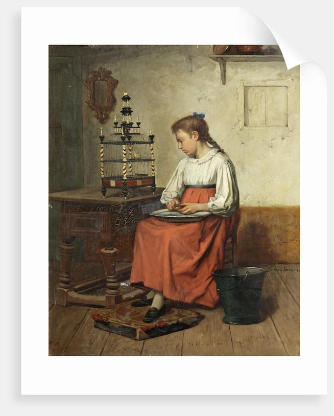 Girl Peeling Potatoes by Lucien Gerard