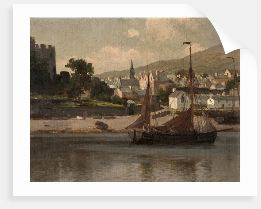 Castle, River and Barge by Lauritz Holst