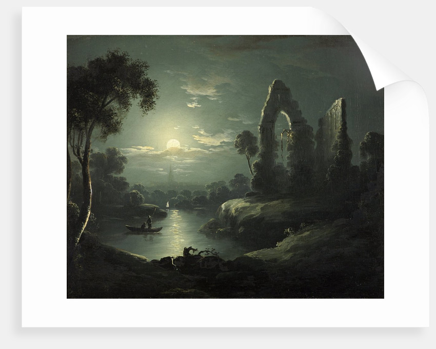 Moonlit River Landscape by British School