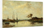 River with Barges and a Windmill by Jan van der Linde