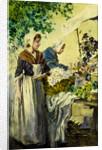 Breton Flower Stall by Percy Lancaster